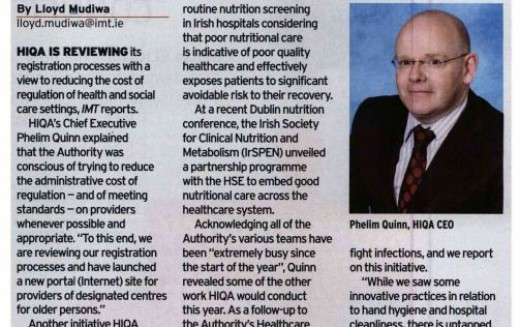 HIQA to focus on malnutrition inspections