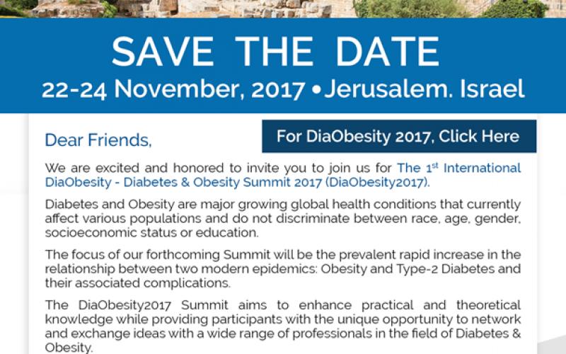 DiaObesity 2017 Summit: November 22-24, 2017 – Jerusalem, Israel