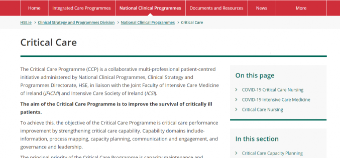 Consultation on the Critical Care Programme's 'Intensive care nutrition support guideline algorithm for adults'